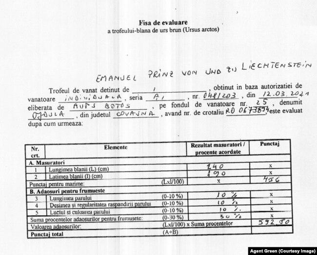 Documentul prezentat de Agent Green din care reiese că Ursul Arthur a fost împușcat la vânătoare de prințul din Liechtenstein.