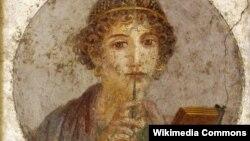 Древнегреческая поэтесса Сапфо со стилосом в руке. Помпейская фреска. Между 55 и 79 годом