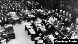 Заседание Нюрнбергского трибунала, судившего нацистских преступников, 1945 год