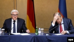 German Foreign Minister Frank-Walter Steinmeier (left) and Russian Foreign Minister Sergei Lavrov at a press conference after a meeting in St. Petersburg on June 10 on the Ukrainian crisis.