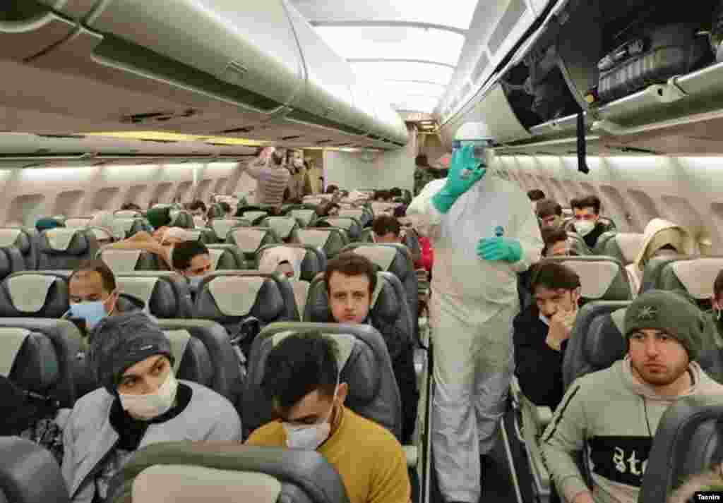 Dozens of Iranian students were flown back from Wuhan with a team of infectious-disease doctors and emergency-response medics on board with them.
