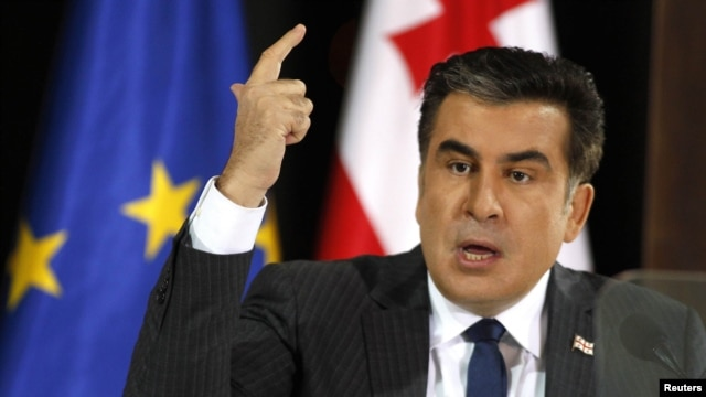 President Mikheil Saakashvili delivered his speech from the presidential residence in Tbilisi on February 8.