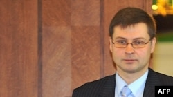 Prime Minister Valdis Dombrovskis looked set to stay in power.