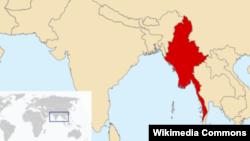 Мьянма өлкөсү дүйнө картасында