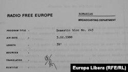 Un raport de producție al unei emisiuni Actualitatea Românească (Soursă: Hoover Archives, Standford)