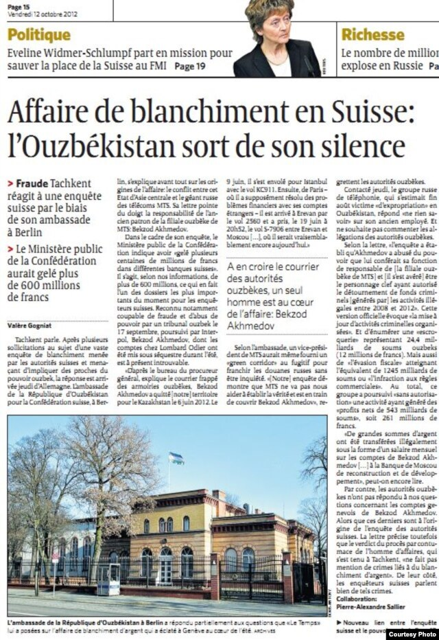 "The article in ""Le Temps"" includes Uzbek authorities' speculation about the whereabouts of a key figure in the case."