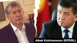 Former President Almazbek Atambaev (left) and the man who succeeded him, Sooronbai Jeenbekov (composite file photo)