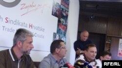 Lideri sindikata na konferenciji za novinare na kojoj su objavili rezultate prikupljanja popisa, Foto: Enis Zebić