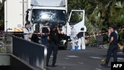 The truck used to mow down and kill 84 Bastille Day revelers on the famous Promenade des Anglais in Nice in southern France