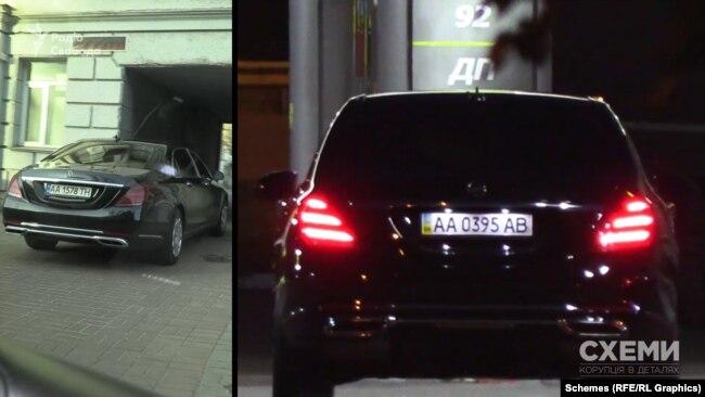 Це – такий же броньований Mercedes Maybach, який через пів року забиратиме першого помічника президента Зеленського Сергія Шефіра із заправки