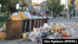 Мусорные контейнеры на улице столицы Кыргызстана.