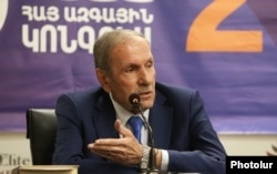 Levon Ter-Petrosian speaks at a press conference in Yerevan on June 10.