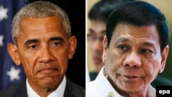U.S. President Barack Obama (L) has refused to sell some weapons to Philippines President Rodrigo Duterte, prompting a threat to turn to Russia.
