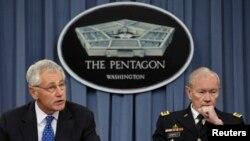 Министр обороны США Чак Хэйгел и командующий Обединенным комитетом начальников штабов Вооруженных сил США генерал Мартин Дэмпси