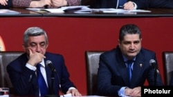 Armenia - President Serzh Sarkisian (L) and Prime Minister Tigran Sargsian attend a conference of the ruling Repubican Party in Yerevan, 15Dec2012.