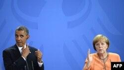 АҚШ президенті Барак Обама (сол жақта) мен Германия канцлері Ангела Меркель.