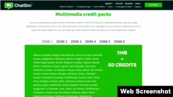ChatSim. Multimedia credit packs.