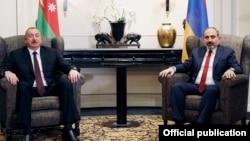 Azərbaycan prezidenti İlham Əliyev və Ermənistanın baş naziri Nikol Pashinian Vyana görüşü zamanı