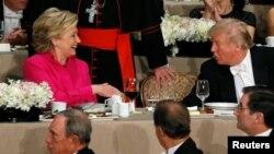 ԱՄՆ նախագահի թեկնածուներ Հիլարի Քլինթոնը և Դոնալդ Թրամփը բարեգործական ընթրիքի ժամանակ, Նյու Յորք, 20-ը հոկտեմբերի, 2016թ․
