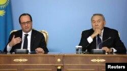 Ֆրանսիայի և Ղազախստանի նախագահների համատեղ ասուլիսը Աստանայում, 5-ը դեկտեմբերի, 2014թ․
