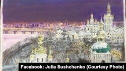 Пейзаж з Києво-Печерською лаврою, малюнок Романа Сущенка