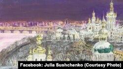 Роман Сущенко часто малює пейзажі, він використовує для цього кулькову ручку, чай, лушпиння
