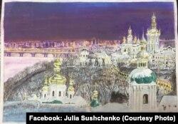 Пейзаж із Києво-Печерською лаврою, малюнок Романа Сущенка