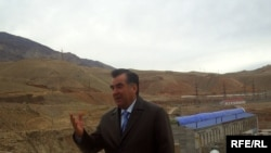 President Emomali Rakhmon opens the third agregate of Sangtuda-1 hydro-power station, Danghara district, Tajikistan