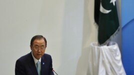 UN Secretary-General Ban Ki-moon addresses the inauguration ceremony for the Center for International Peace and Stability in Islamabad.