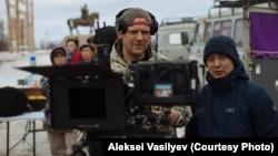 Director Dmitry Davydov on location outside Amga.