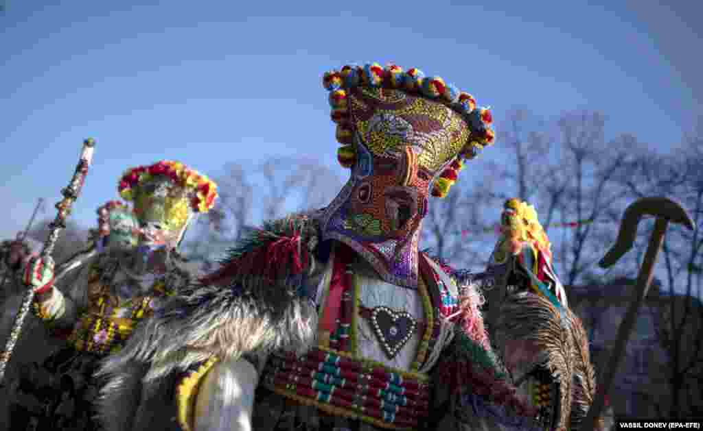 In the Surva carnival parade, the Kukeri are characters including Dionysus and his satyrs, as well as others from history such as the tsar, harachari, plyuvkachi, startzi, and pesyatzi.