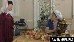Үзешчән артистлар Рәсимә Мифтахетдинова һәм Хәлимә Шәмсиева (у)