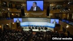 Президент України Петро Порошенко під час виступу на Мюнхенської конференції з питань безпеки, 13 лютого 2015 року