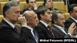 Zlatko Lagumdžija, Sulejman Tihić, Željko Komšić i Bakir Izetbegović u parlamentu FBiH