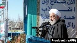 Իրանի նախագահ Հասան Ռոհանին ելույթ է ունենում Թեհրանի Ազատության հրապարակում, 11-ը փետրվարի, 2020թ.