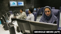"The newsroom of Iranian news channel ""Press TV"" in Tehran."