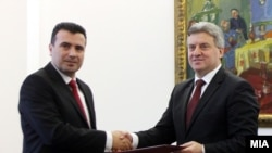 Zoran Zaev i Đorđe Ivanov tokom prvih konsultacija koje su se završile neuspehom