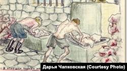 """Страница из тетради воспоминаний Евфросиньи Керсновской. """"Стирка белья"""""""