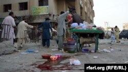 Pamje pas një sulmi të mëparshëm në Baluçistan të Pakistanit