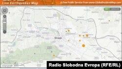 Мапа з позначеними епіцентрами низки струсів у Скоп'є, 11 вересня 2016 року