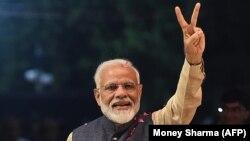 نریندر مودی صدراعظم هند در جشن پیروزی اش در انتخابات هند، ۲۳ می ۲۰۱۹