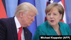دیدار دونالد ترامپ و آنگلا مرکل در حاشیه نشست سران گروه ۲۰ در هامبورگ.