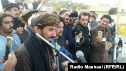 FILE: Manzoor Pashteen addressing a Pashtun Tahafuz Movement protest gathering in westren Pakistani city of Zhob on March 3.
