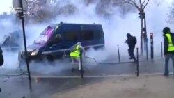 Parisdə aksiyaçılarla polis arasında toqquşma olub