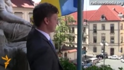 Украінскія сьцягі залуналі над Чэхіяй