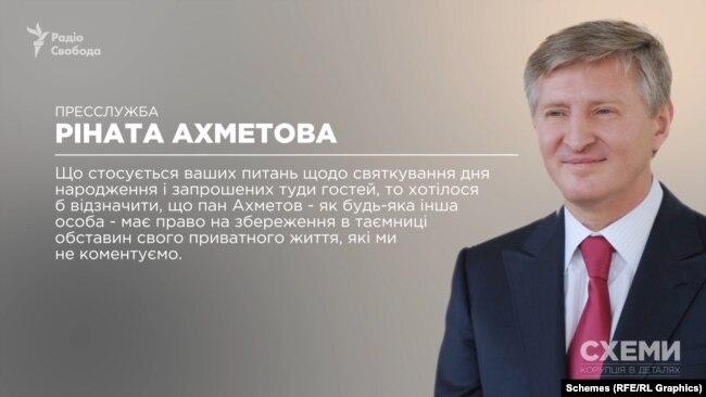 «Пан Ахметов – як будь-яка інша особа – має право на збереження в таємниці обставин свого приватного життя, які ми не коментуємо», – відзначили в його пресслужбі