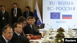 Russian President Dmitry Medvedev (second from left) before the start of the EU-Russia summit
