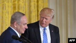 U.S. President Donald Trump (right) and Israeli Prime Minister Benjamin Netanyahu at the White House last month.