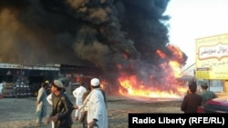 At least two people were killed when a bomb attached to a fuel truck exploded in eastern Nangarhar Province.