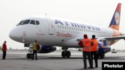 Armenia - Armavia's newly purchased Sukhoi SuperJet 100 plane at Yerevan's Zvartnots airport, 19Apr2011.